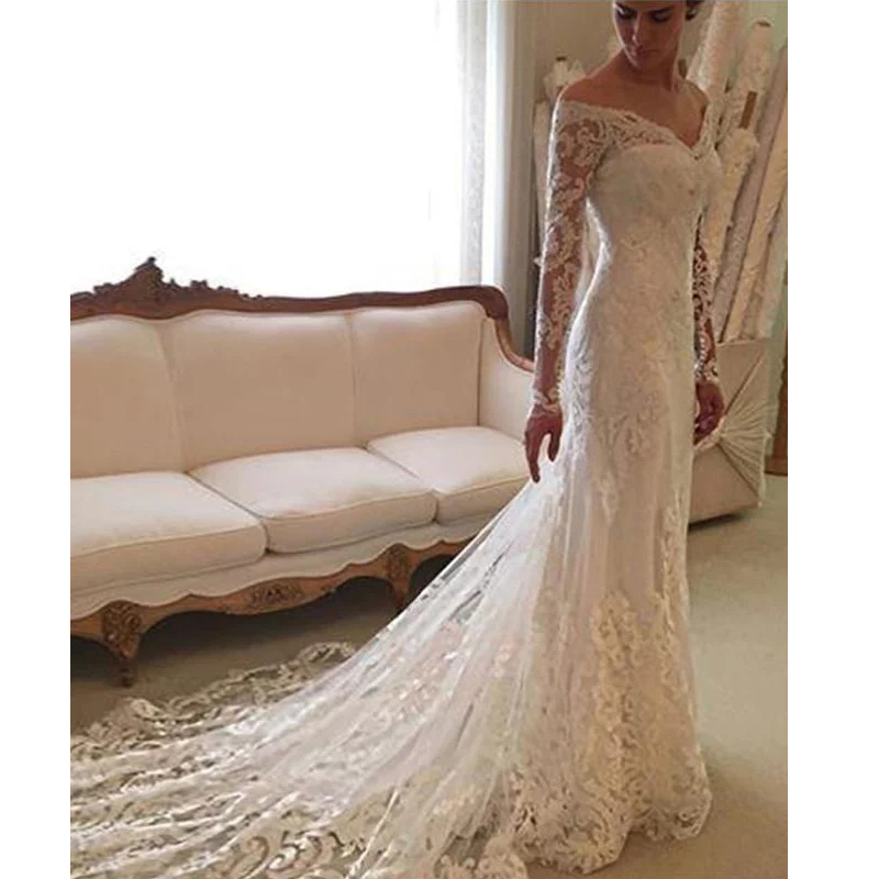 Sheath Wedding Dresses 2019: V Neck Wedding Dresses 2019 Lace Sheath Column Long