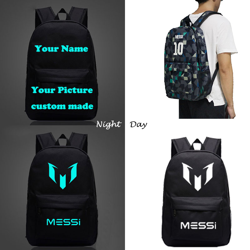 Messi Minecraft  CR7 Game School Backpacks Children Bts Custom Made Letter Printing Glowing Backpack Kids Gift