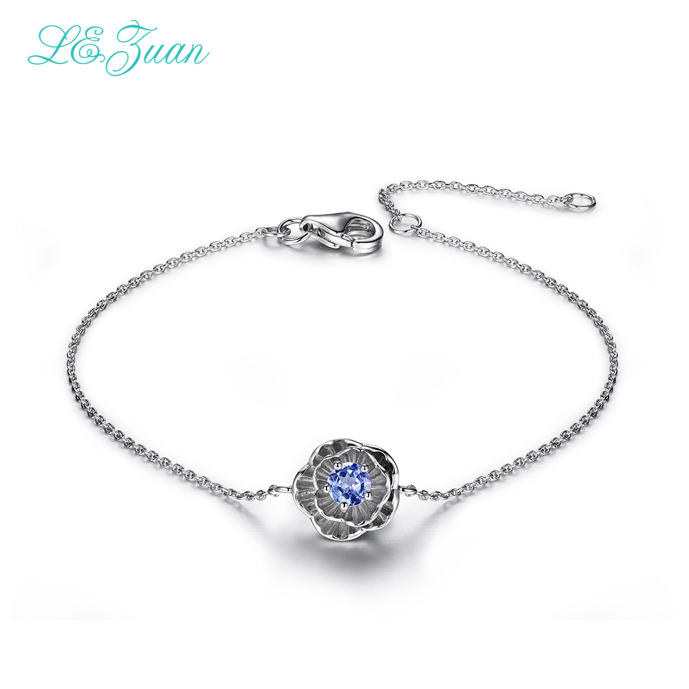 I&zuan 925 Sterling Silver Jewelry <font><b>Bracelets</b></font> For Women Natural <font><b>Tanzanite</b></font> Lotus Flower Fine Jewelry Party Cute <font><b>Bracelet</b></font> 0903 image