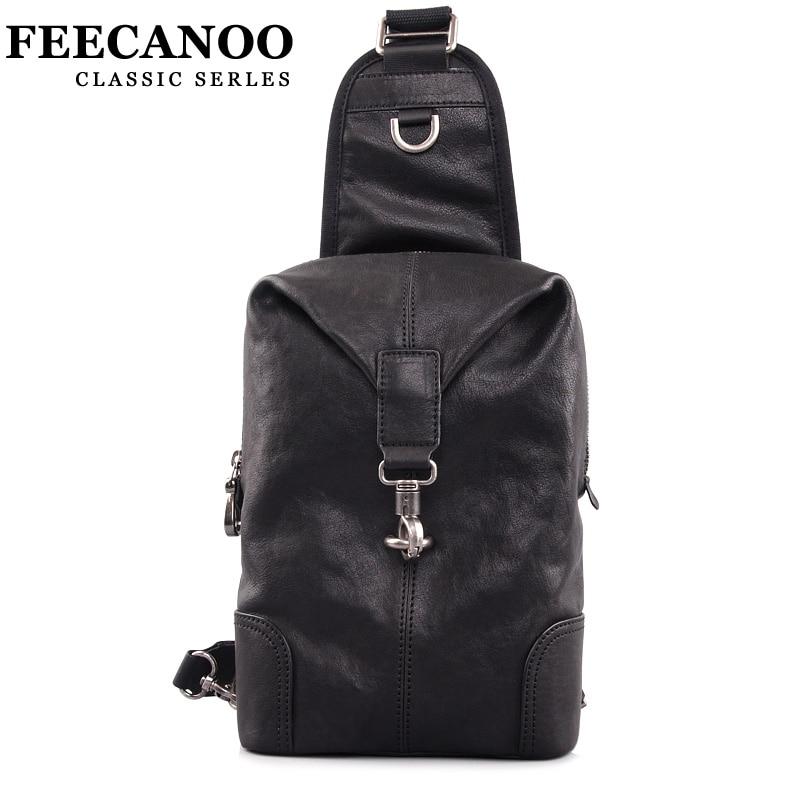 Фото Feecanoo Fashion Mens chest bag men genuine leather Shoulder bag crossbody bags Black Leather Mens Casual Travel Messenger Bag. Купить в РФ