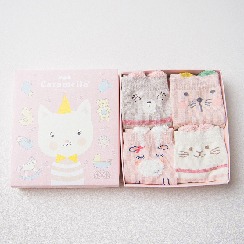 A set of baby socks Kitten, 4 pairs baby set of 4 pieces cotton box baby set of 4 pieces