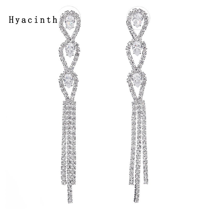 Fashion Long Tassel Zircon Earrings Shining Charming Glory Independent Style Crystal Earrings Gift For Ladies 2018 Long Earrings yoursfs goddess tassel drop earrings long section of female models fashion earring imitation pearl shining zircon ear pendant page 9
