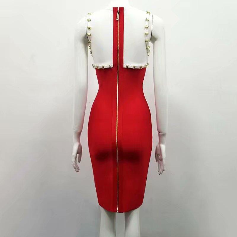 Robe Sexy Rouge Blanc Bandage longueur cou D 18 D'o Sans D'été Rayonne Soirée Genou De Patchwork Manches TgOWgnYq