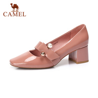 CAMEL Spring Women New Genuine Leather Sweet Single Shoes For Ladies High Heel Pumps Formal Dress Shoes Women Retro Soft Comfort