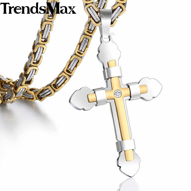 Men's CZ Rhinestone Cross Necklace Gold Silver Black Stainless Steel Cross Pendant Necklace Byzantine Chain for Men KF10