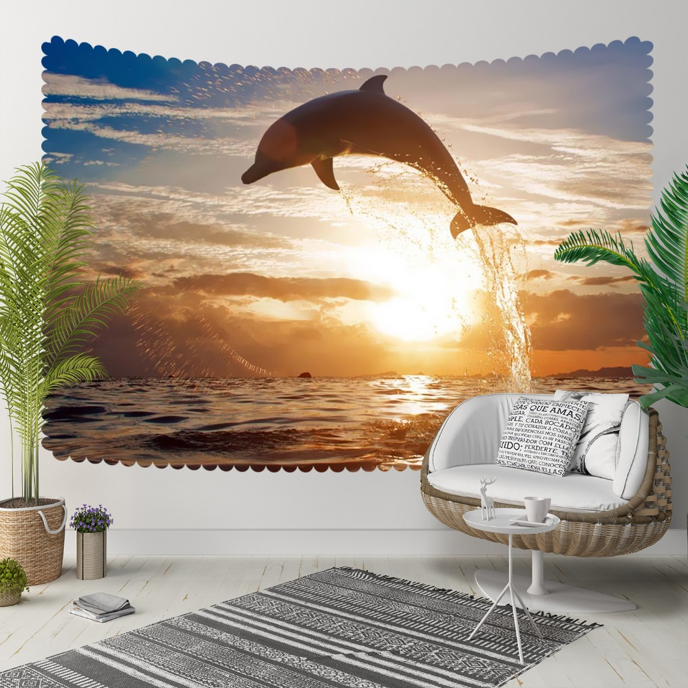 Else Tropical Sea Sunset Shine Bouncing Dolphins 3D Print Decorative Hippi Bohemian Wall Hanging Landscape Tapestry Wall Art