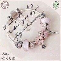 Популярные высокое качество подарок ювелирные изделия серии любовь розовый 925 Серебряный цветок Шарм браслет для подруги