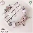 Popular alta calidad regalo serie de joyas amor Rosa 925 esterlina Flor de plata encanto pulsera para novia