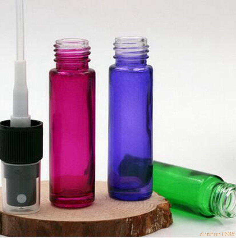 Dikke 600 stks/partij 10 ml Kleurrijke Reizen Glas Kleine Lege Aromatische Geur Fine Mist Spray Parfum Navulbare Fles Verstuiver #4 - 4