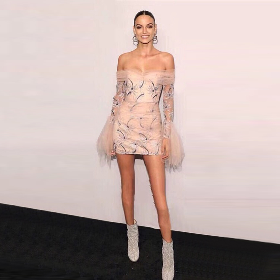 Adyce 2019 nouveau automne femmes célébrité robe de soirée Vestidos Sexy dentelle rose Slash cou élégant épaule dénudée moulante Club robes
