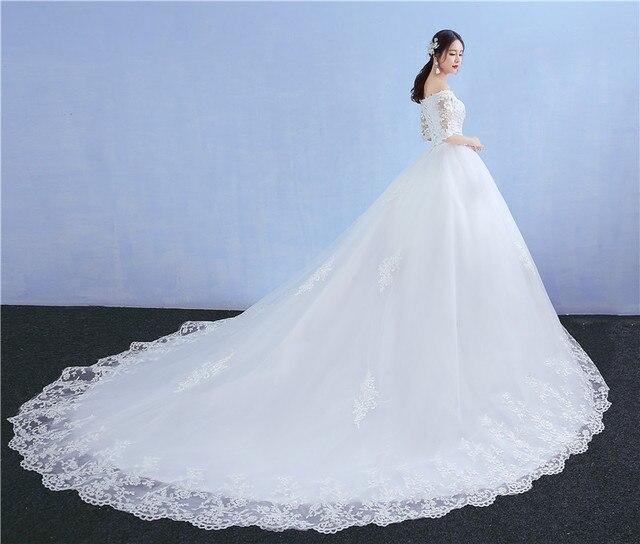 Цветочные аппликации с открытыми свадебное платье платья белые босоножки Регулируемый Свадебные Платья свадебное De Festa невесты платья Красота