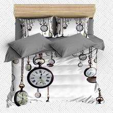 Más 6 piezas blanco gris Vintage relojes veces Retro 3D estampado algodón satén doble edredón funda de cama funda de almohada sábana