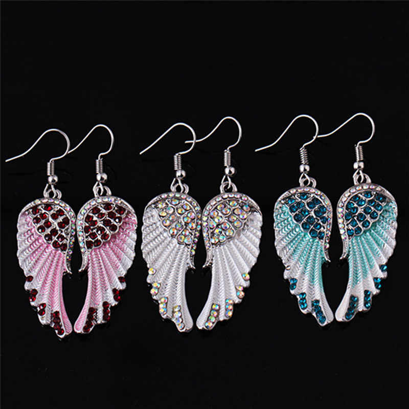Fashion Romantic Blue White Pink Color Angel Wings  Earring For Women Exquisite Jewelry Gift Can Dropshipping