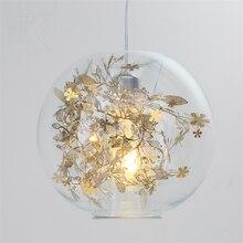 купить Modern E27 LED Kitchen Dining & Bar Pendant Lights Art  Goid Silver Glass Lighting Fixture for Bar Bedroom Living Room Luminaria дешево