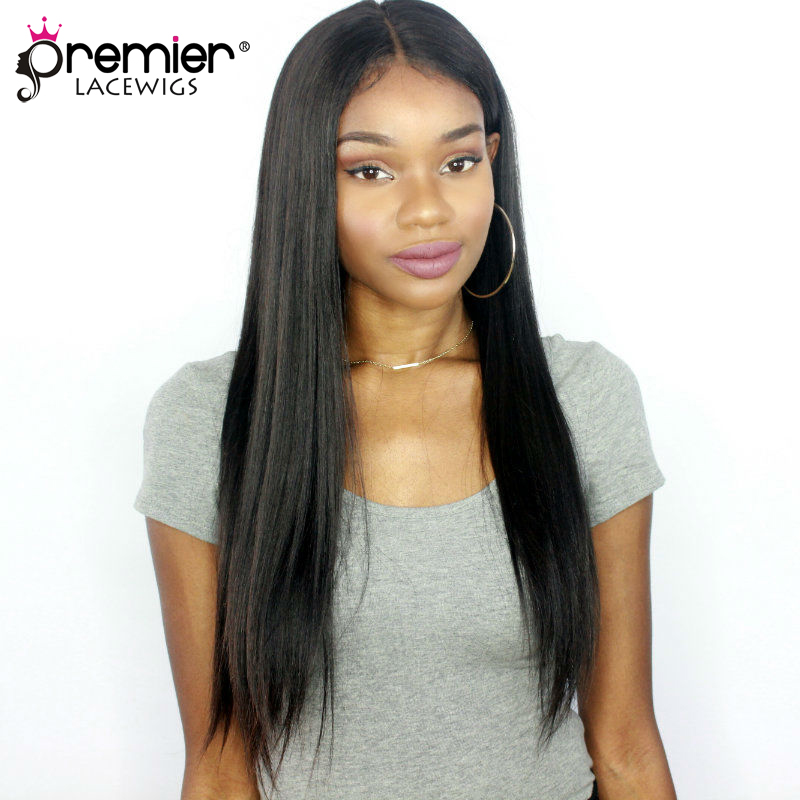 PREMIER LACE WIGS 360 Lace Wigs Yaki Straight Indian Remy Human Hair,150% Thick Density,Pre-Plucked Hairline [360LW02]