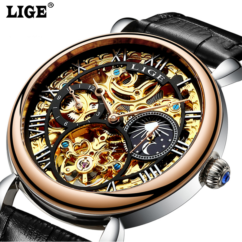 Men Skeleton Mechanical Watch Top Luxury Casual Automatic Men Classic Gold Leather Sports WristWatches Reloj Hombre mce luxury brand skeleton square mechanical watches leather gold automatic watch men waterproof casual wristwatch reloj hombre