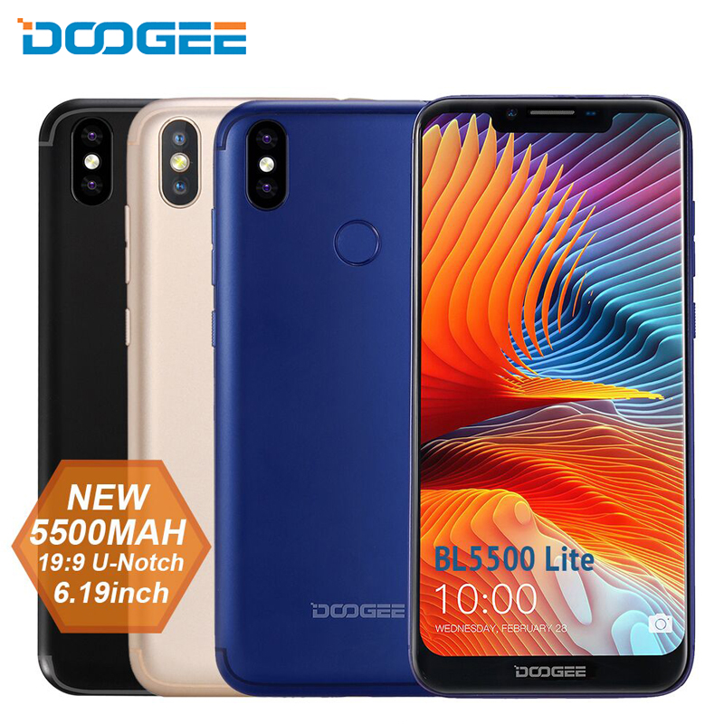 DOOGEE BL5500 Lite 4G LTE Smartphone 6.19 Inch 19:9 Notch Screen Android 8.1 Oreo 2G+16G 5500mAh Fingerprint 13.0MP Mobile Phone
