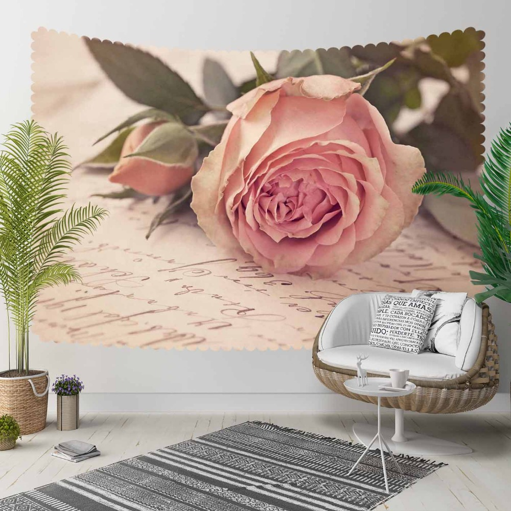 Else Retro Pink Roses Vintage Writen Flowers Floral 3D Print Decorative Hippi Bohemian Wall Hanging Landscape Tapestry Wall Art