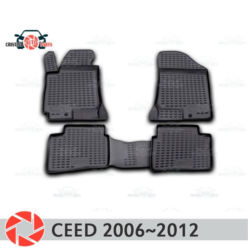 Alfombrillas de suelo para Kia Ceed 2006 ~ 2012 alfombras antideslizantes de poliuretano protección de suciedad accesorios de diseño de coches interiores