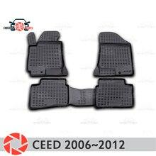 Коврики для Kia Ceed 2006 ~ 2012 ковры Нескользящие полиуретановые грязезащитные внутренние аксессуары для стайлинга автомобилей