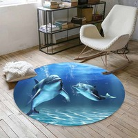 Else Blue Under Sea Swimming Dolphins Fishes 3d Print Anti Slip Back Round Carpets Area Rug For Living Rooms Bathroom