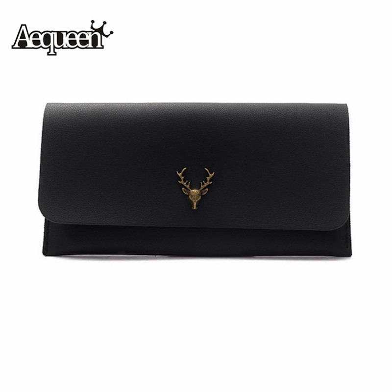 AEQUEEN Fashion Women Lady Clutch PU Leather Long Wallet Slim Vintage Women Purse Card Holder Wallets Deer Female Purse Black 2017 vintage men hunter letters long brown pu leather wallet purse card holder clutch wallets gifts lt88