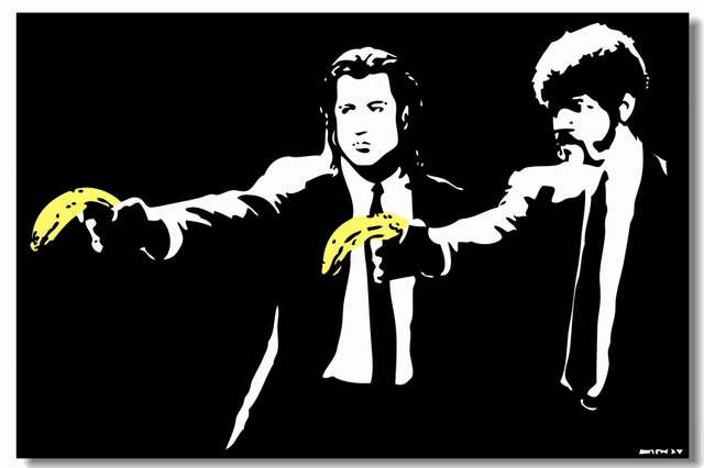 Custom Canvas Wall Murals Funny Pulp Fiction Poster Wallpaper Cafe Bar Stickers Vintage Bedroom