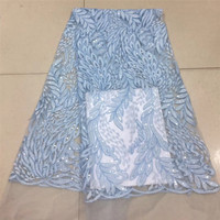 High Quality Nigerian Leaves Design Tulle African Mesh Embroidery Lace French Sequin Fabric X628 1