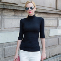 2018 Autumn Three Quarter Sleeve Sweater Slim Solid Color Turtleneck Pullovers Sweaters Europe Style Elegant Spring