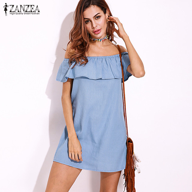 9f89ffff4610 2017 ZANZEA Elegant Women Slash Neck Off Shoulder Mini Dress Summer Brief  Casual Denim Blue Party Short A-Line Vestido Plus Size