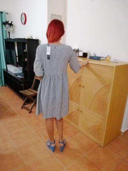 Women Summer Elegant O Neck Half Sleeve Pockets Loose Party Vestido Casual Baggy Work Striped Dress Sundress Oversized photo review