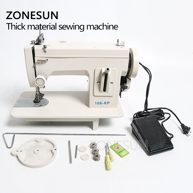 Image 5 - ZONESUN 106 RP straight Household Sewing Machine Fur Leather Fell Clothes Thick Sewing Tool Thick Fabric Material Stitching ToolFood Processors   -
