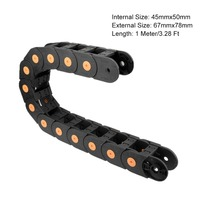 UXCELL R125 45x50mm 45mmx50mm 1M Closed Type Plastic Drag Chain Cable Carrier Transmission Chains Power Parts for CNC Machine
