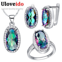 Uloveido 49 Off Silver Wedding Jewelry Sets Rainbow Mystic CZ Diamond Bridal Ring Necklace Earrings Jewelry