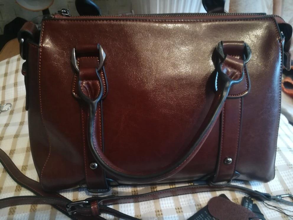 UYO Vintage Wax Oil Genuine Leather Briefcase Top-handle Luxury Shoulder Bags Designer Female Ladies Handbags Women Tote Bag photo review