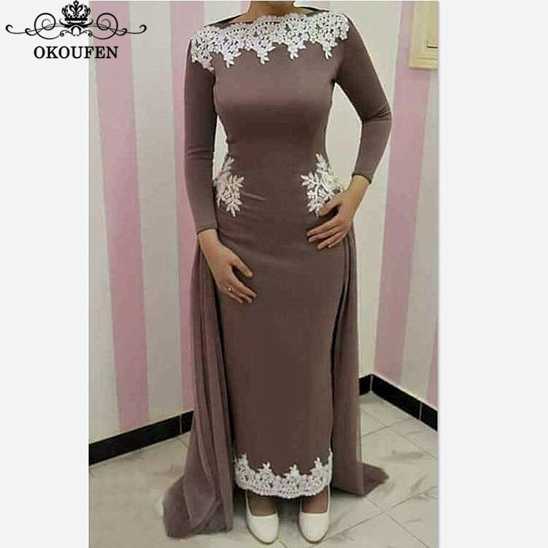 Caftan arabe femmes sirène mère de la mariée robes manches longues blanc Appliques 2018 cheville longueur robe de bal robe de soirée