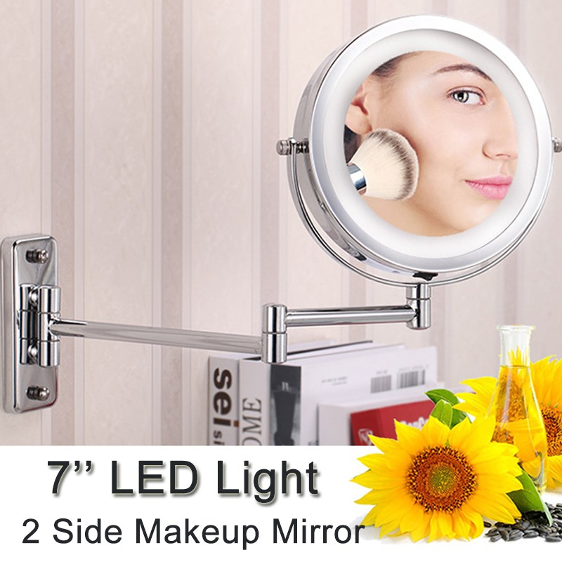 7 Inch Double Side Makeup Mirror With LED Light 1:1 Bathroom Folding Mirrors Extension Arm Swivel Wall Mount Vanity Mirror
