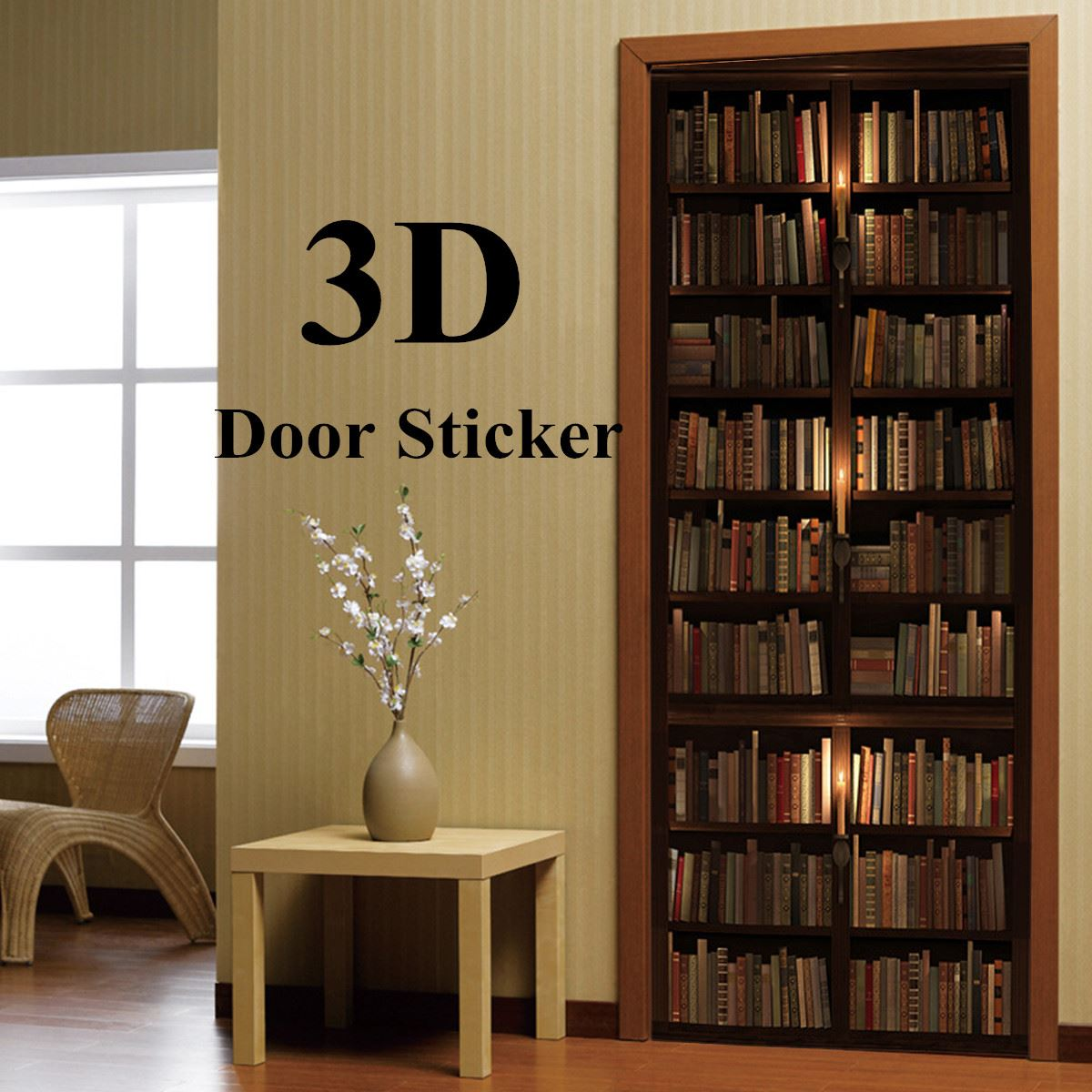 2Pcs Home Wall Door 3D Stickers Decoration Imitation Library universal Door stickers Bed ...