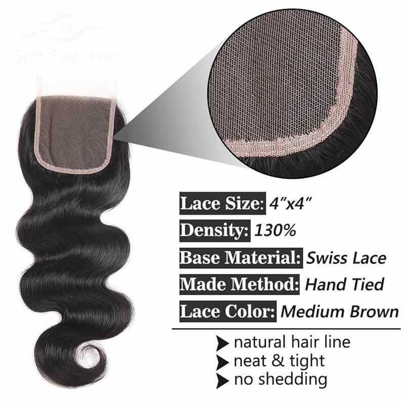 Brazylijski ciało fala koronki zamknięcie 4x4 część darmowe szwajcarska koronka zamknięcia koronki naturalny czarny brazylijski dziewiczy włosy uzupełnienie splotu ludzkich włosów