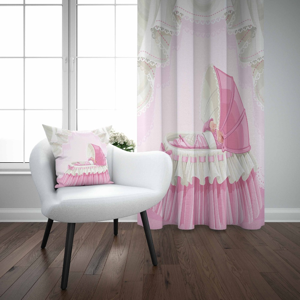 Else White Pink Sweet Cute Baby Cradle 3d Kids Print Baby Children Window Panel Set Curtain Combine Gift Pillow Case