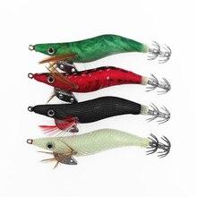 New Wood Shrimp Fishing Lure 4Pcs Luminous Squid Jigs 10cm 11g Octupus Lures Cuttle Umbrella Hook White Black Red Green