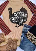 2018 thanksgiving Women T-Shirt Turkey Plaid Gobble Y'all Print Baseball T-Shirt Fashion 3/4 Sleeve Female t-shirt Tops Tee