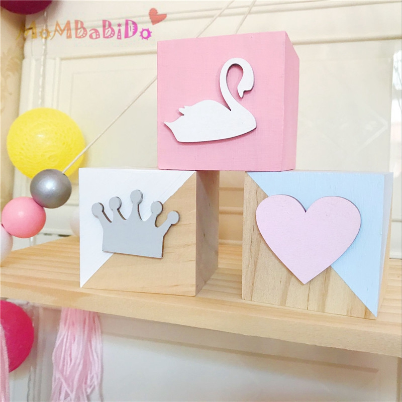 3pcs/Set Original Pine Wooden Blocks Toys Swan Crown Heart Wood Articles Baby Kids Toys Girl Photography Props Christmas Gifts
