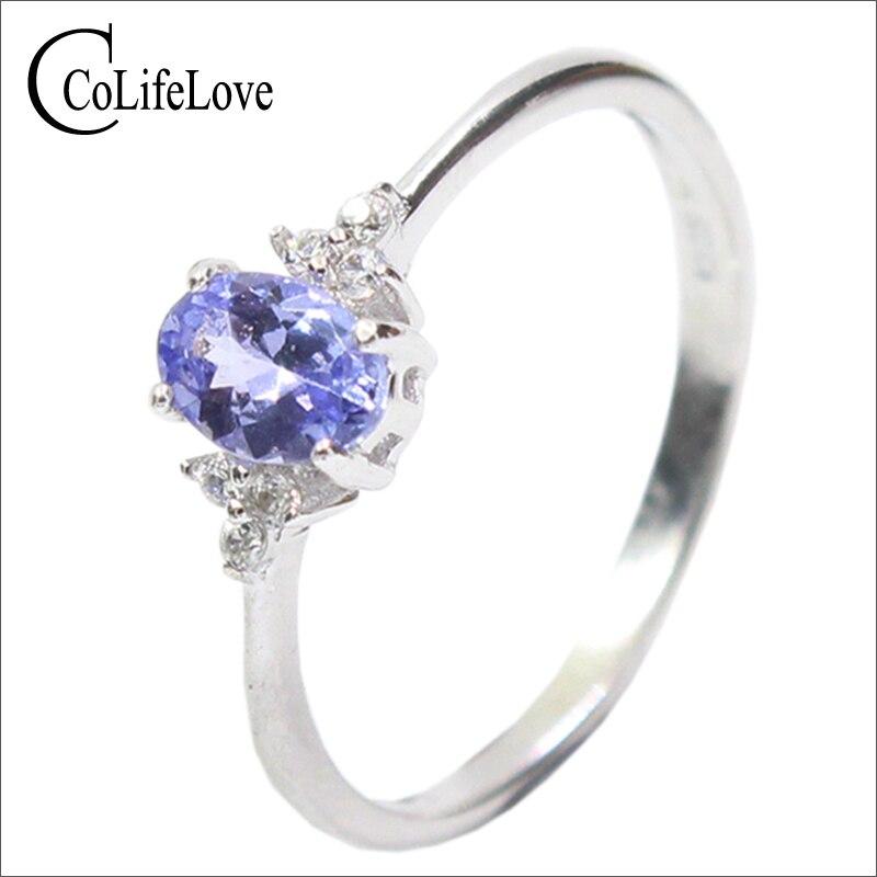 Mode d'argent pierre anneau de mariage pour femme 4*6mm impeccable naturel tanzanite bague en argent massif 925 argent tanzanite anneau