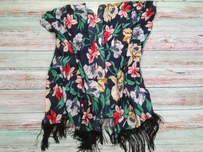 COLROVIE Цветочные кисточкой пляжное кимоно кардиган 2018 новые летние короткий рукав Винтаж кимоно халат элегантные свободные Для женщин блузка