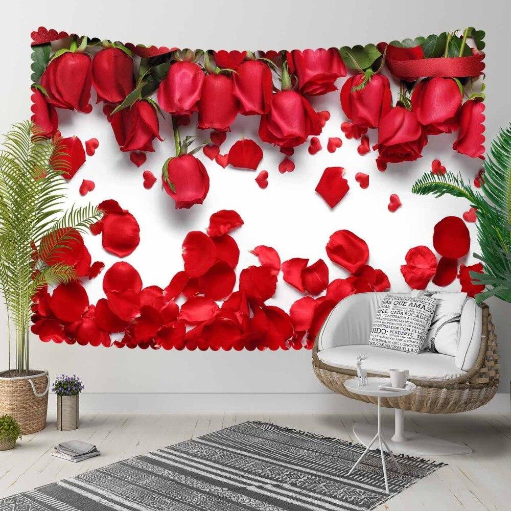 Sinon Roses rouges Rose feuilles romantique amour fleurs 3D imprimer décoratif Hippi bohème tenture murale paysage tapisserie mur Art