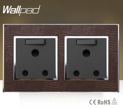 250V Wallpad Luxury Double 13 Amp UK Switched Socket Goats Brown Leather 1 Gang Switch and 13A British Wall Socket Free Shipping wallpad luxury double 13 a uk switched socket goats brown leather 1 gang switch and 13a wall socket with neon free shipping