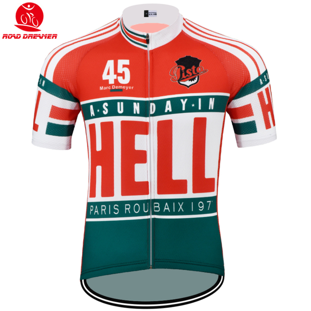 1383e3c04 old style Tour de France team HELL cycling jersey Short sleeved clothes MTB  Bicycle team jersey Ropa ciclismo maillot