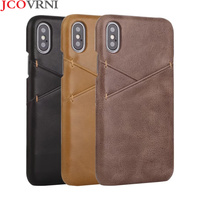 JCOVRNI 2018 Retro leather matte for iPhone7Plus phone cover for iPhoneXR XS MAX 8plus With card storage luxury phone case Coque