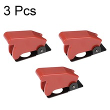 UXCELL Red Plastic Waterproof Spring Loaded Flip Security Cover Cap Guard For 12mm Toggle Switches Accessories Supplies 3Pcs